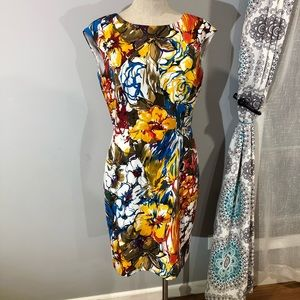 ELLEN TRACY floral print dress Sz 8 multicolored